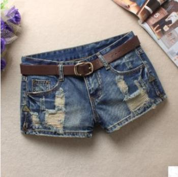 Newest S/3Xl Summer Women'S Trendy Hole Denim Shorts Fashion Beggars Shorts Jean Low Waist Jeans Shorts Without Belt J2711 Women's Bottoms