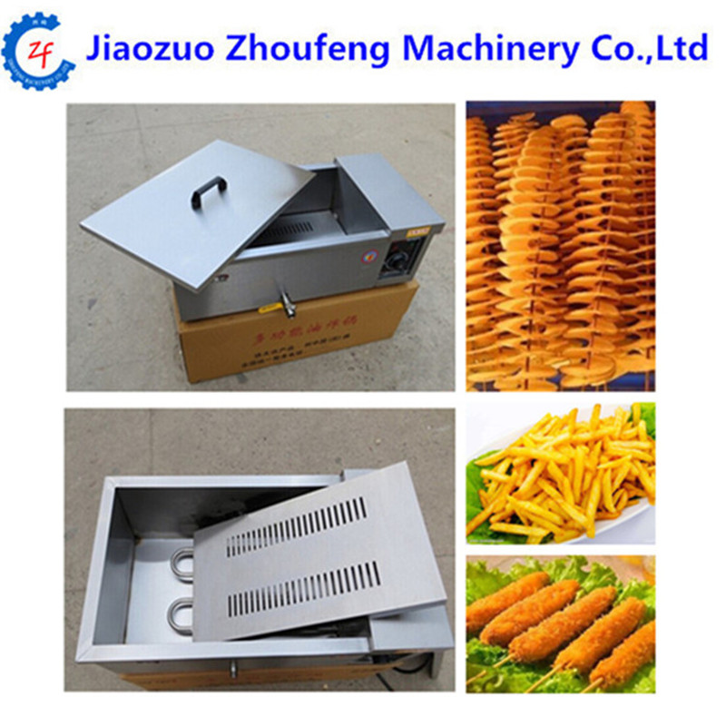Stainless steel deep fryer 12L electric frying furnace french fries fried chicken machine ZF commercial double screen cylinder electric deep fryer french fries machine oven pot frying machine fried chicken row eu us plug