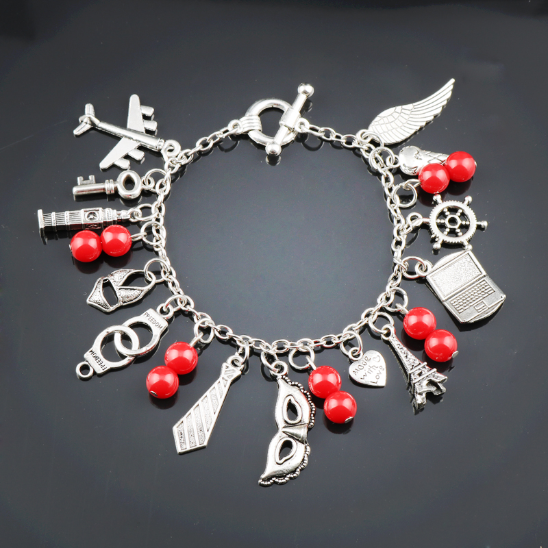 DIY Multi-pendants 50 Fifty Shades of Grey Bracelets for Women Red Beads Mask Pendants a bracelet Valentines Day Gift