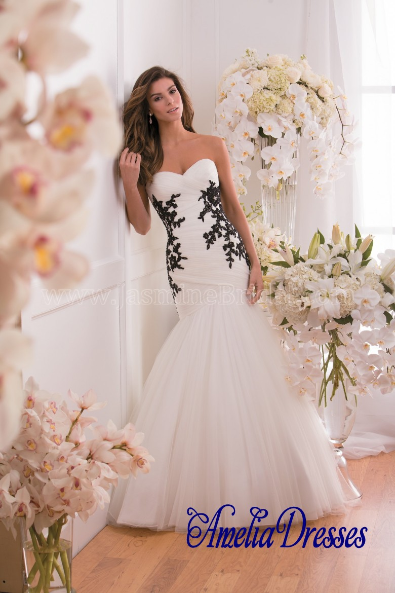 Online Aw 413 Stunning Embroidery Wedding Gown Black And White Mermaid Plus Size Aliexpress Mobile