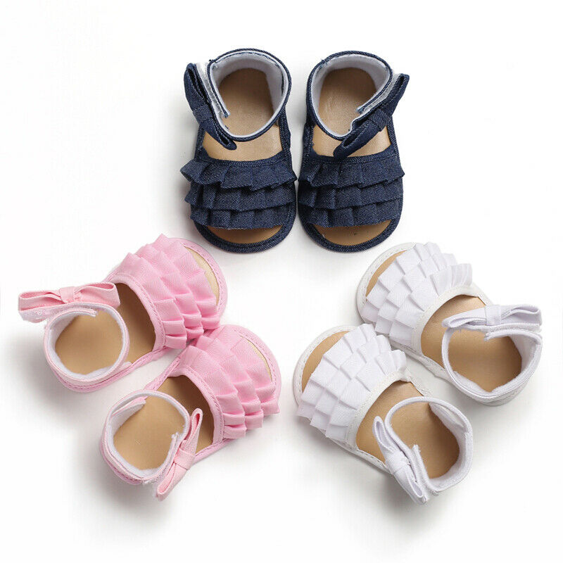Newborn Baby Boy Soft Sole Cute Bows Shoes Toddler Summer Sandals Size 0-18 M