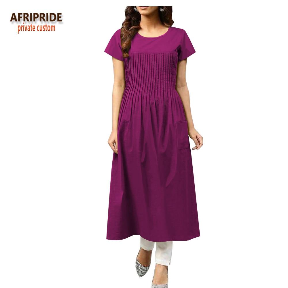 2018 automne imprimé africain décontracté femmes robe AFRIPRIDE à manches courtes o-cou mi-mollet longueur batik coton robe pour les femmes A1825052