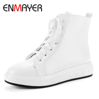 ENMAYER White Shoes Woman Flats Ankle Boots For Women Cross Tied Winter Boots Plus Size 34