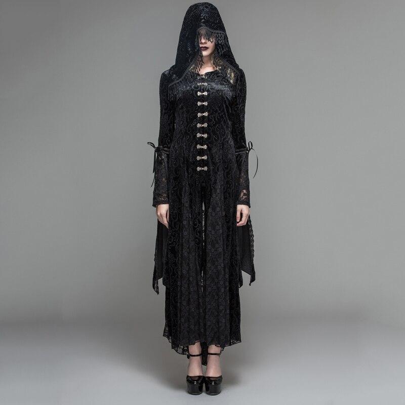 Дьявол Мода готический черный mysteriou Для женщин Повседневное длинное пальто платье visual kei стимпанк костюм с капюшоном с бахромой длинные пал
