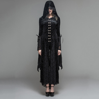 Devil Fashion Gothic Black Mysteriou Women Casual Long Coat Dress Visual Kei Steampunk Costume Hooded Tassel