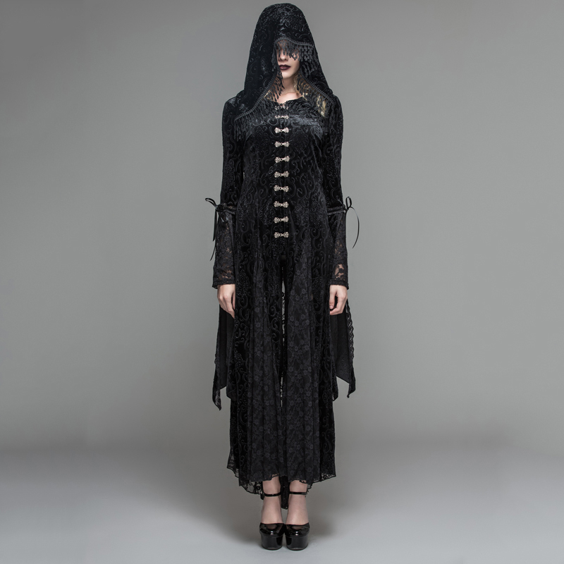 Devil Fashion Gothic Black Mysteriou Women Casual Long Coat Dress Visual Kei Steampunk Costume Hooded Tassel Long Overcoat Dress
