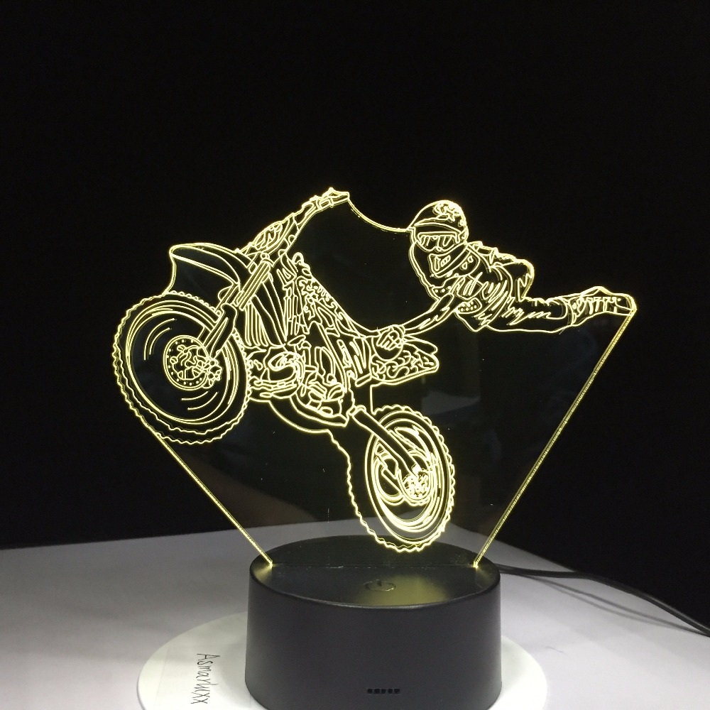 Motorcycle Stunts Touch Table lamp 7 Colors Changing Desk Lamp 3D Lamp Novelty Led Night Light LED Light Drop Ship New Year Gift novelty 3d full moon lamp led night light usb rechargeable color changing desk table light home decor 8 10 12 15 18 20cm