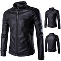 Leather Jacket Men Stand Collar Jaqueta De Couro Masculina PU Mens Leather Jackets Men Outwear Autumn