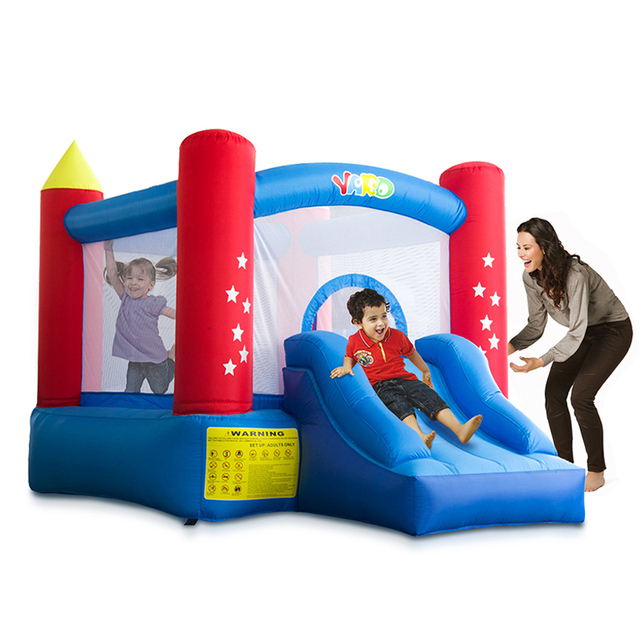 Inflatable Bouncy Castle Oxford Cloth Bounce House Safety Jumping Trampoline With Slide Blower Outdoors Kids Game Inflatable Toy