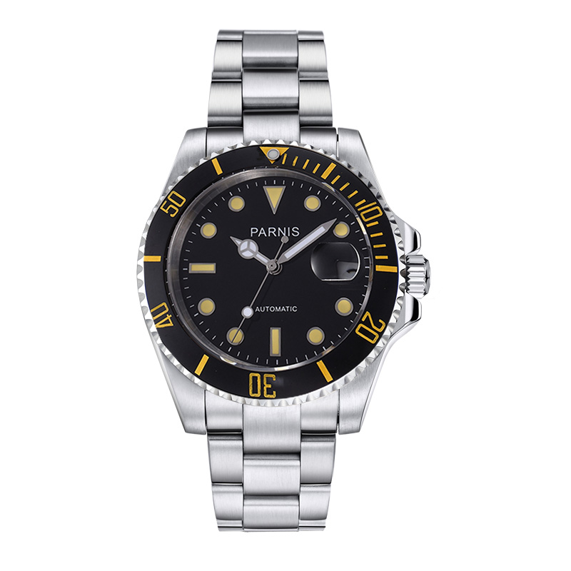 40mm Parnis Watches Man Black Rotating Bezel Silver Dial with luminous Watch Men Hands Stainless Steel Case Automatic Wristwatch 40mm parnis stainless steel case black dial orange second hands mens automatic wristwatches pa4002sbo