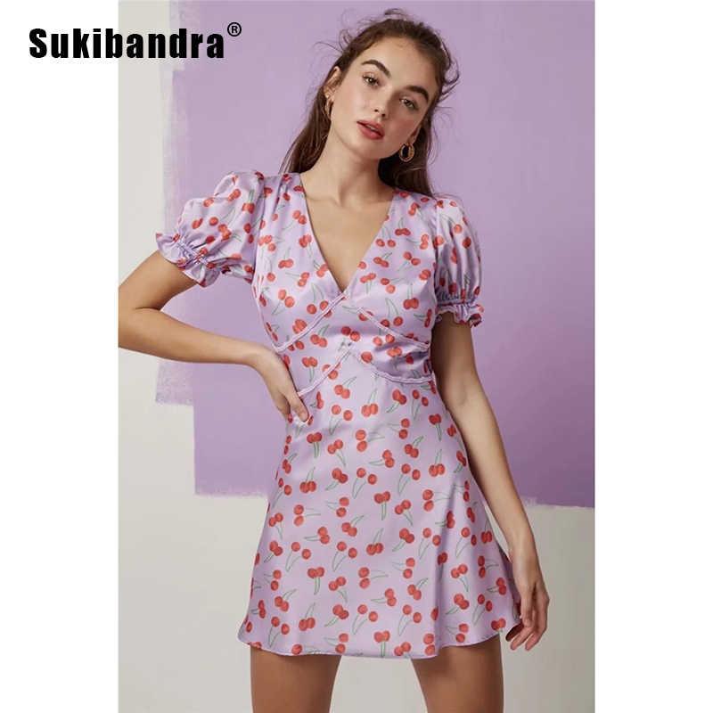 96c3c9ad4ea Sukibandra 2019 Summer A Line Cherry Print Purple Vintage Mini Dress Women  Short Sleeve Deep V