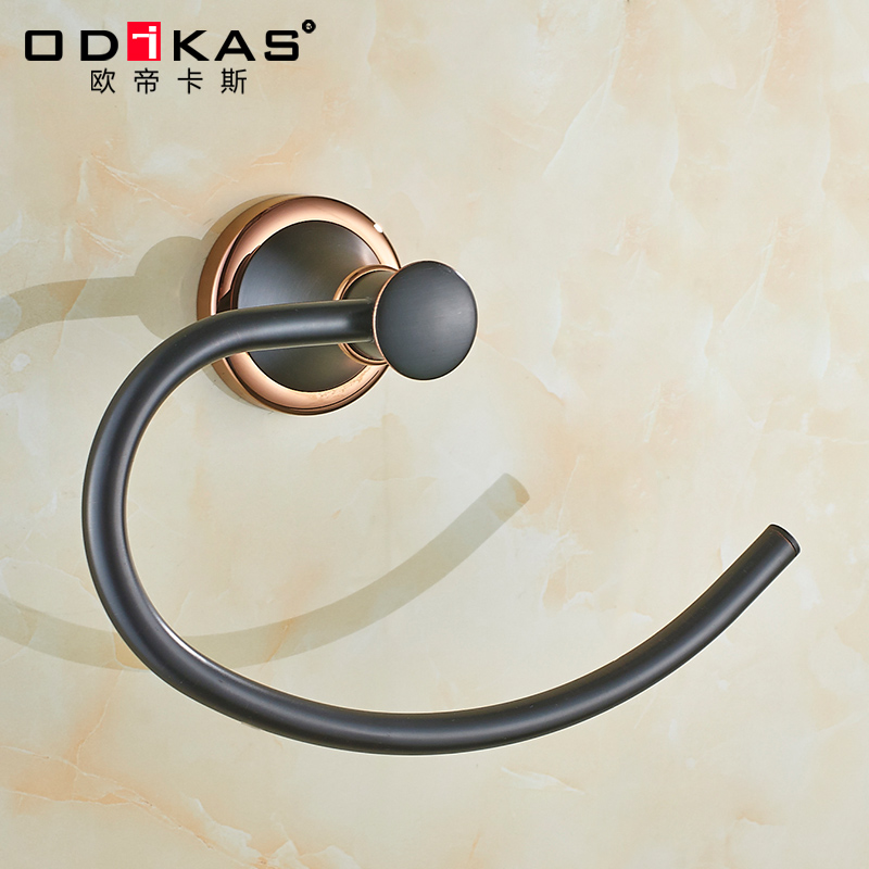 Towel Ring Black Bronze Towel Holder For Bathroom Accessories Wall Mounted Solid Brass Bath Towel Bar Towel Rack aluminum wall mounted square antique brass bath towel rack active bathroom towel holder double towel shelf bathroom accessories