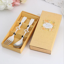2PCS/set Smile/Heart Shaped Love Coffee Spoon and fork in gift Box