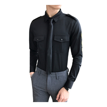 Shirt Mens Long Sleeve Men Fashion DJ Nightclub Bar Badge (Tie for Gift) S-5XL Slim Casual
