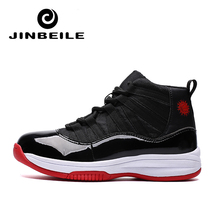 Basketball Shoe 11 Men Sport Shoes High Top Basketball Sneakers Outdoor Basket Shoe Chaussures de basket Black shoes Big Size 46 цена