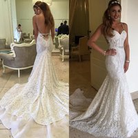 New Backless Berta Bridal Gowns Mermaid 2019 Full Lace Wedding Dresses Sweetheart Neck Sleeveless Long Vintage Lace