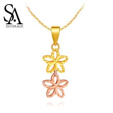 SA SILVERAGE Yellow Gold Pendant Necklaces 18K Rose Woman 2019 Chain Real Jewelry Platinum