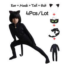 Купить с кэшбэком Ladybug Black Cat Noir Halloween Christmas Costume For Boys Cosplay Kids Party Clothes Mask Lady Bug Costumes Jumpsuits 4PCS/Set