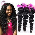 Lucky Queen Hair Products Peruvian Loose Wave 4 Bundles Loose Wave Curly Weave Human Hair Bundles Loose Curly Virgin Hair 4PCS