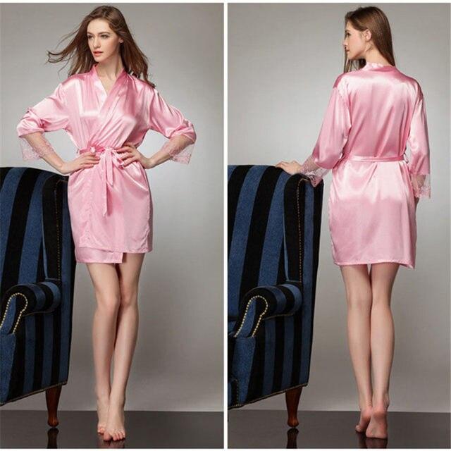 Online Shop Women Bathrobe Bridesmaid Robes Silk Lace Dressing Gown ...