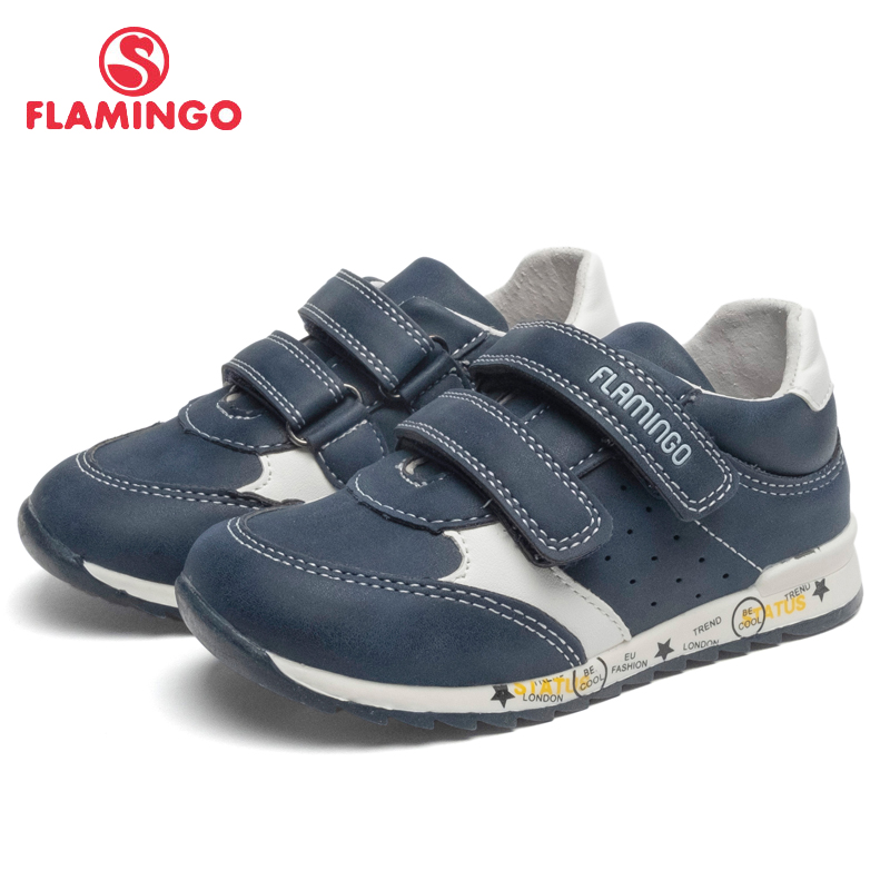 FLAMINGO Brand Breathable Arch Hook& Loop TPR Children Walking Shoes Leather Size 22-27 Kids Sneaker for Boy 91P-SW-1288 flamingo brand breathable arch hook