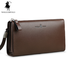 WilliamPOLO 2017 Fashion 100% Cow Leather Business Solid Zipper Long  Mens Clutch Wallet With Cell Phone Pocket POLO197