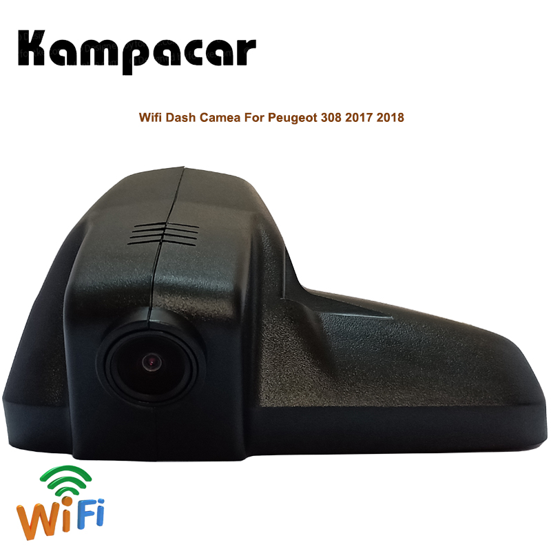 Kampacar Wifi Dual Lens Dash Cam Car DVR Camera Video Recorder For Peugeot 308 2017 2018