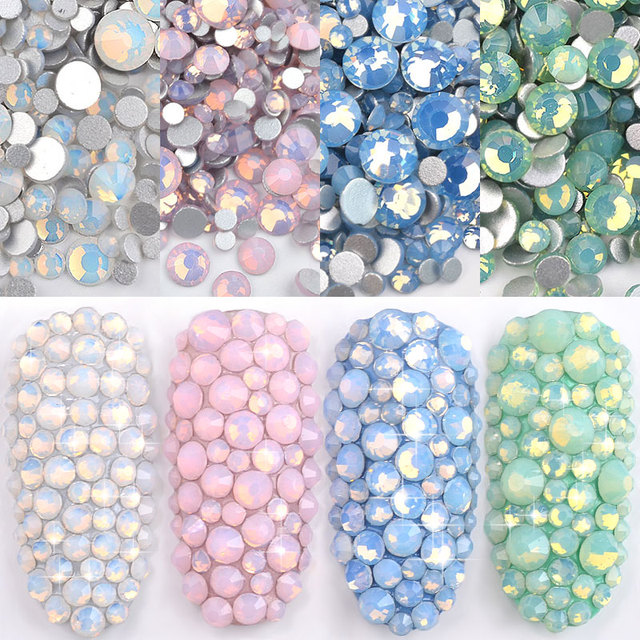 1 Pack Multi Size SS4-SS20 Opal Nail Rhinestones Flat Bottom Colorful Crystal Glass Gems For DIY UV Gel 3D Nail Art Decorations