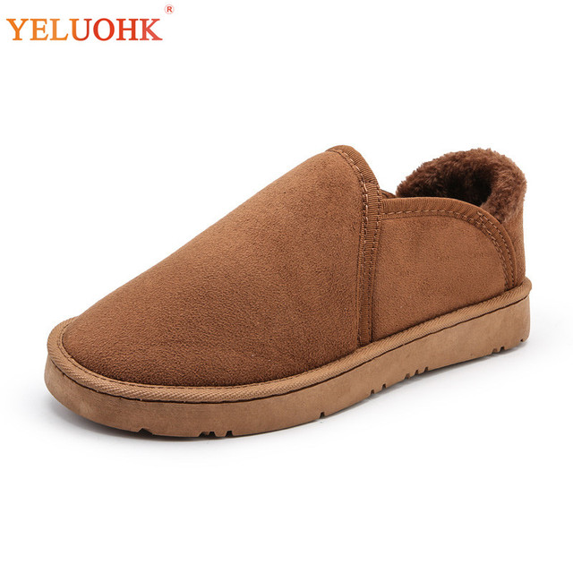 3171472d6db5c US $12.48 |38 45 Winter Slippers Men Plush Warm Winter Shoes Men Indoor  Home Shoes For Men Slippers Fur Brown Blue Black-in Slippers from Shoes on  ...