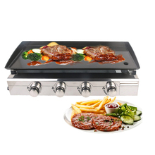 LPG Gas BBQ Grill 4 Burners Plancha Stainless Steel Barbecue Griddle Cast Iron Hot Plate Outdoor Barbecue Tools 220v commercial stainless steel all flat grill griddle bbq plate electric contact grillplate