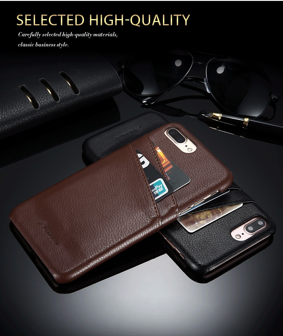 genuine leather card slot case for iPhone 6 6s Plus 7 7 Plus (2)