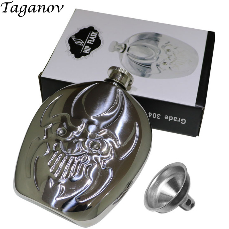6oz alkohol bottle mini stainless steel whisky flasque alcool personal Deities ghost metal alcohol wisky Hip Flask