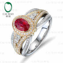 CaiMao 18KT/750 White Gold 1.10 ct Natural Red Blood Ruby & 0.81 ct Round Cut Diamond Engagement Gemstone Ring Jewelry