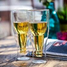 Креативная перевернутая пивная кружка с двойными стенками, пивная стеклянная Питьевая Бутылка, пивные кружки, вечерние стаканы для бара