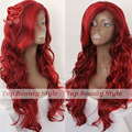 Hot selling long body wave lace front red wig brazilian hair heat resistant hair weave synthetic lace front wigs for women