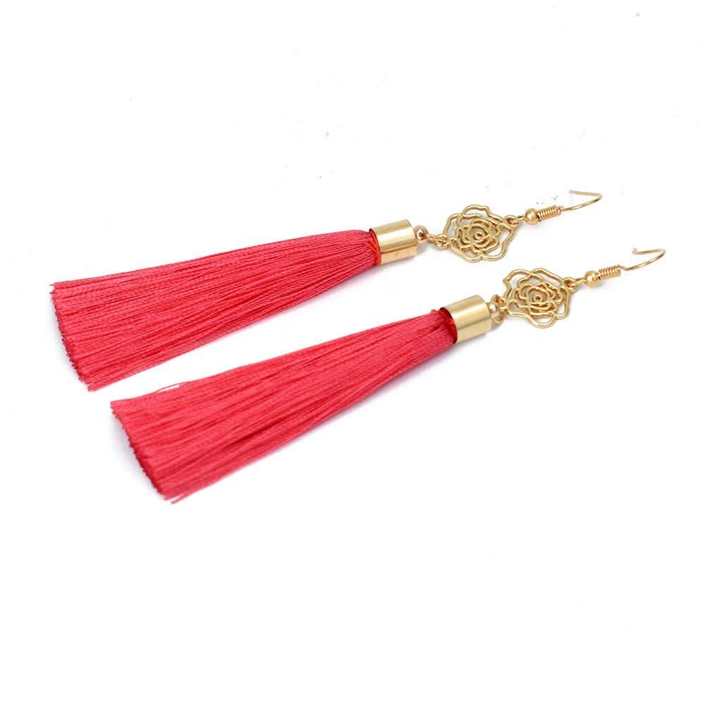 Chadestinty Boho Long Tassel Dangle Earring Gold Color Flower Earrings Bohemian Indian Jewellery Female Fringe Drop Earings