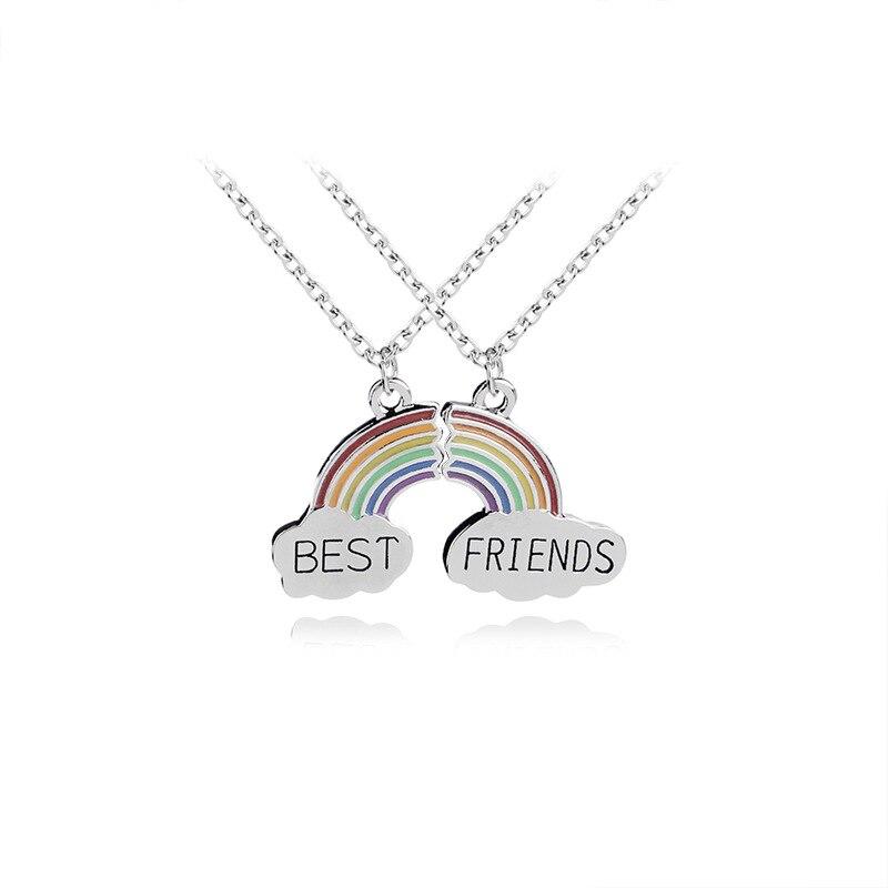 Children Best Friends Cute Colorful Rainbow Pendant BFF 2 ...