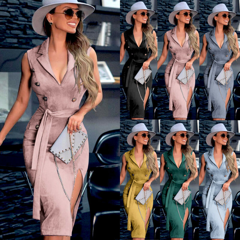 Fashion Women Sleeveless Lapel Bodycon Party Evening Cocktail Pencil Midi Dress