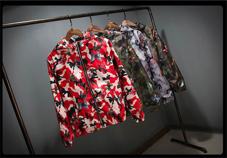 Mens Casual Camouflage Hoodie Jacket 2018 New Autumn Butterfly Print Clothes Men's Hooded Windbreaker Coat Male Outwear WS505