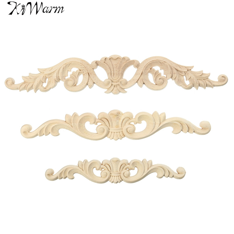 KiWarm Retro Floral Woodcarving Decal Wood Carved Corner Applique Frame For Home Furniture Wall Door Cabinet Decoration Crafts