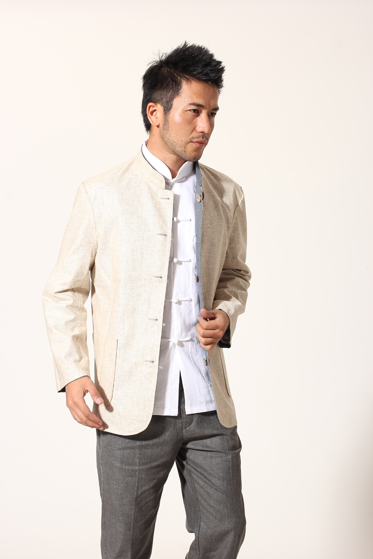 New Style Gray Beige Men's Reversible Jacket Two Side Rib cloth Coat Chinese Tunic Suit Top Size M L XL XXL XXXL MN010