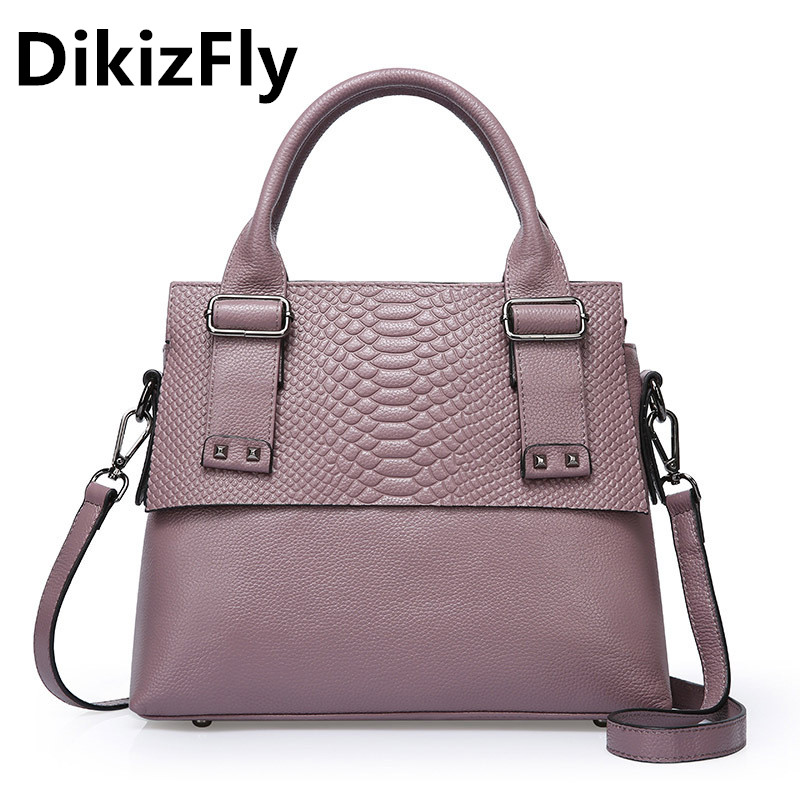 DikizFly Classics totes bag for women messenger bags Genuine leather lady handbgas Alligator real leather shoulder bags New 2017 dikizfly soft genuine leather women handbags casual totes bag real leather brand work handbag purse elegant messenger bags bolsa