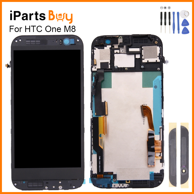 ФОТО iPartsbuy For HTC One M8 LCD Display Touch Screen LCD Screen Touch Panel Frame Front Glass Lens Cover For HTC One M8 lcd frame