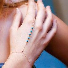 Simple Beads Chain Charm Finger Bracelets Bohemian Adjustable Handmade String Gold Silver Color for Women