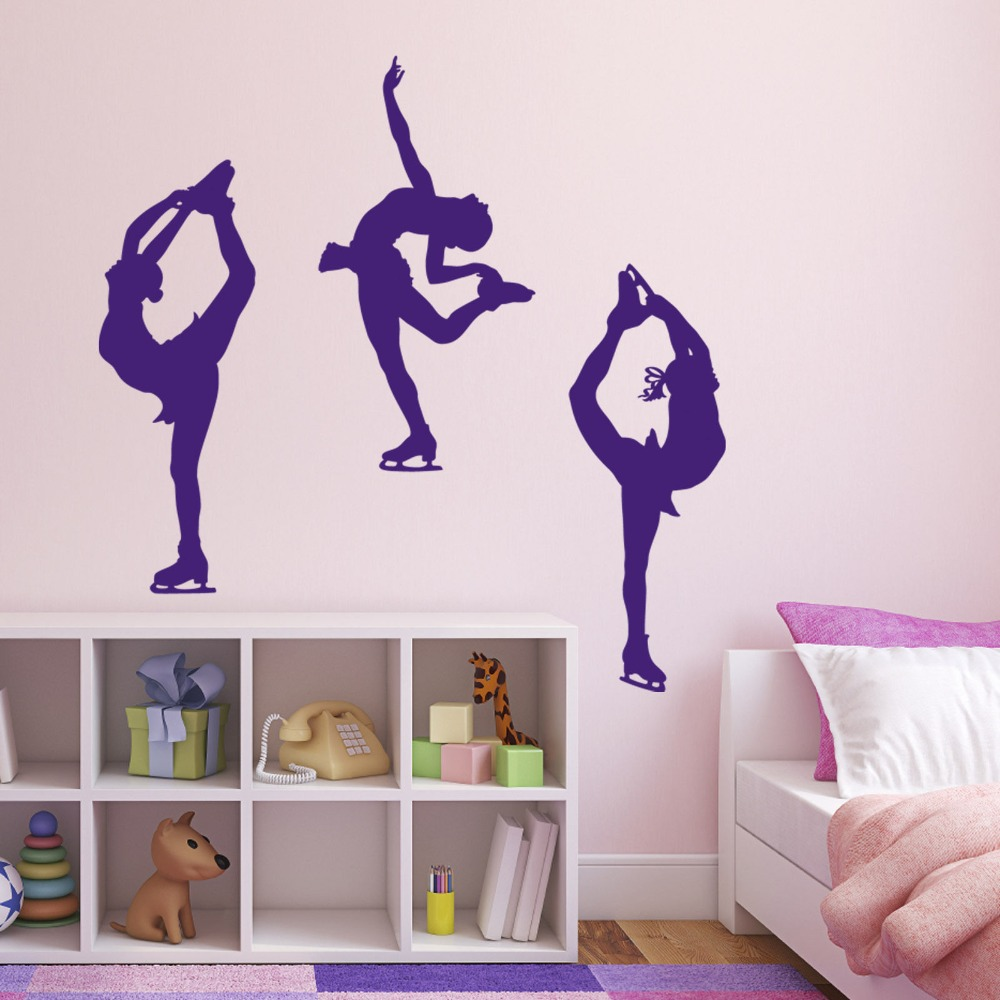 Girls Room Decoration Ice Skating Dance Sports Wall Sticker Vinyl