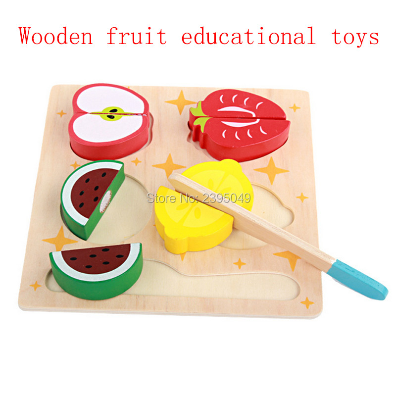 New Infant child simulation kitchen family toy wooden fruit and vegetable cake cut Early Educational Toys Baby Boy Girl Puzzles
