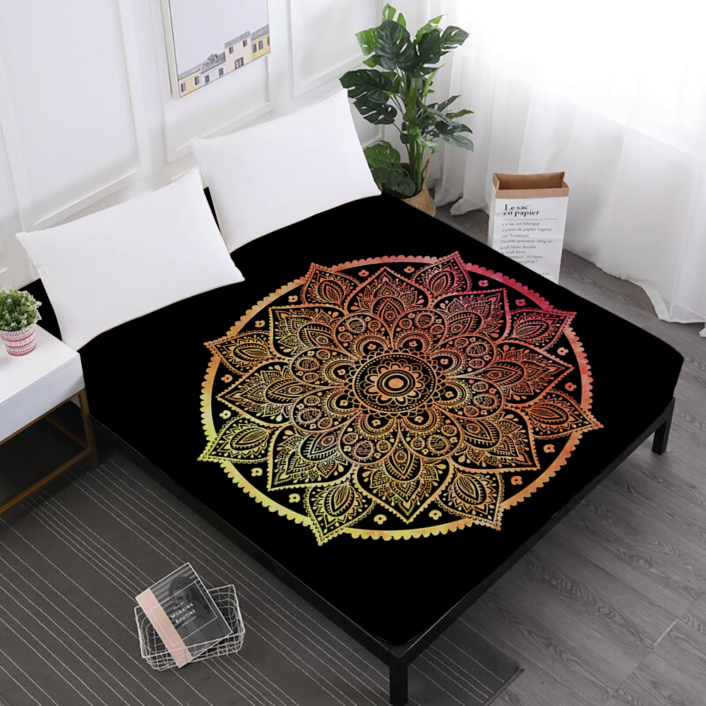 Luxury Bed Sheets Mandala Hamsa Hand Print Fitted Sheets Bohemia Colorful Elephant Print Mattress Cover Elastic band D25