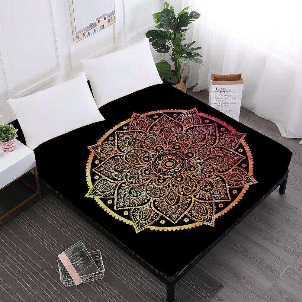 Luxury Bed Sheets Mandala Hamsa Hand Print Fitted Sheets Bohemia Colorful Elephant Print Mattress Cover Elastic