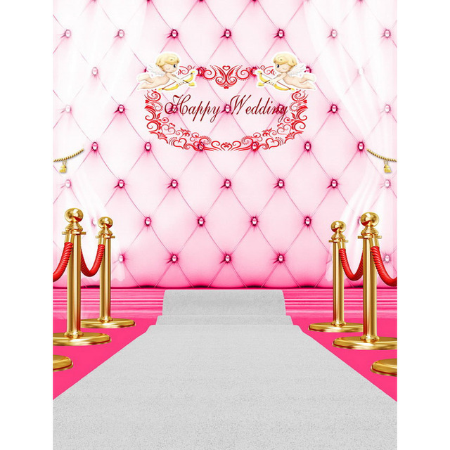 Customize Vinyl Cloth Printed Hy Wedding Angel Pink Headboard Photo Background Photography Studio Backdrops