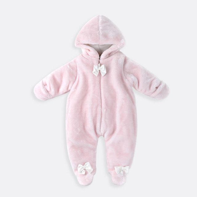 Nuevo Otoño y El Invierno Recién Nacido Ropa de Bebé Polar Ropa Del Mameluco Del Bebé Ropa de Algodón acolchado Trajes de Bebé Mameluco Rosa